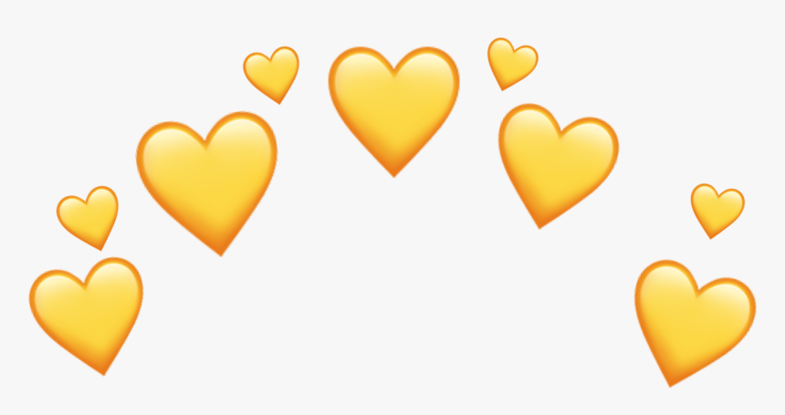Yellow Heart Crown Sticker - Yellow Heart Crown Png, Transparent Png, Free Download