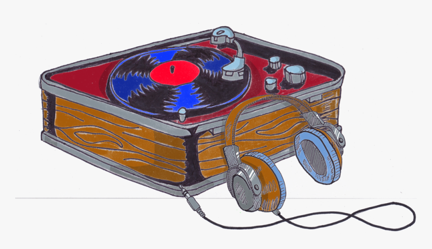 Record Player With Headphones - Illustration, HD Png Download, Free Download