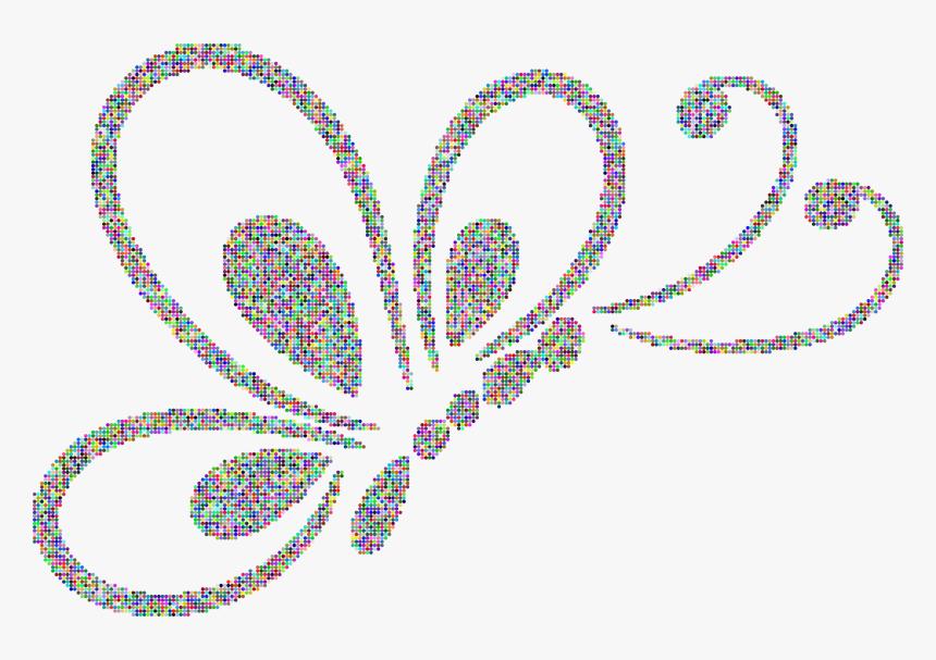 Prismatic Dots Butterfly Line Art 2 Clip Arts - Outline Design, HD Png Download, Free Download