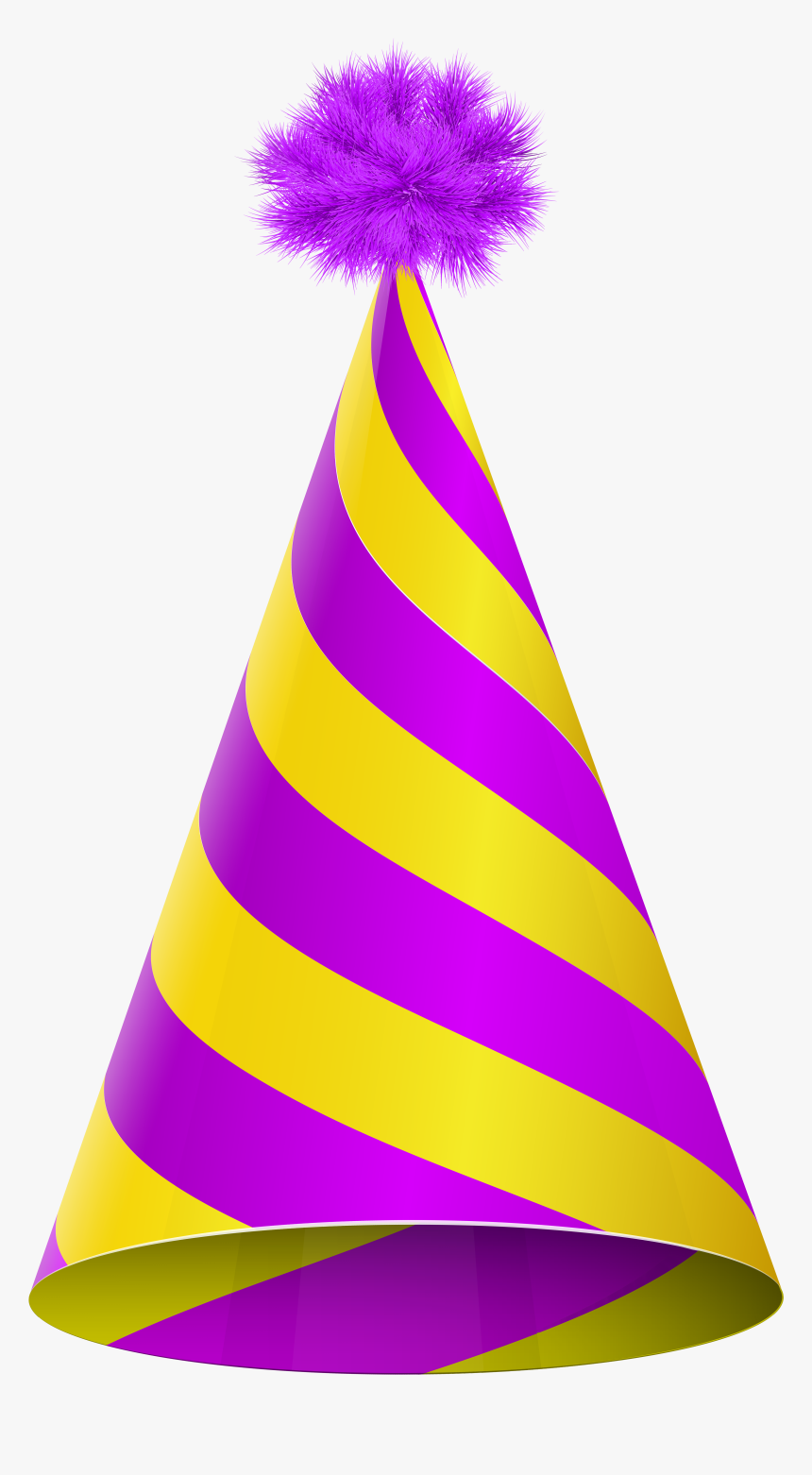 Birthday Hat Transparent Png For Kids - Yellow And Purple Party Hat, Png Download, Free Download