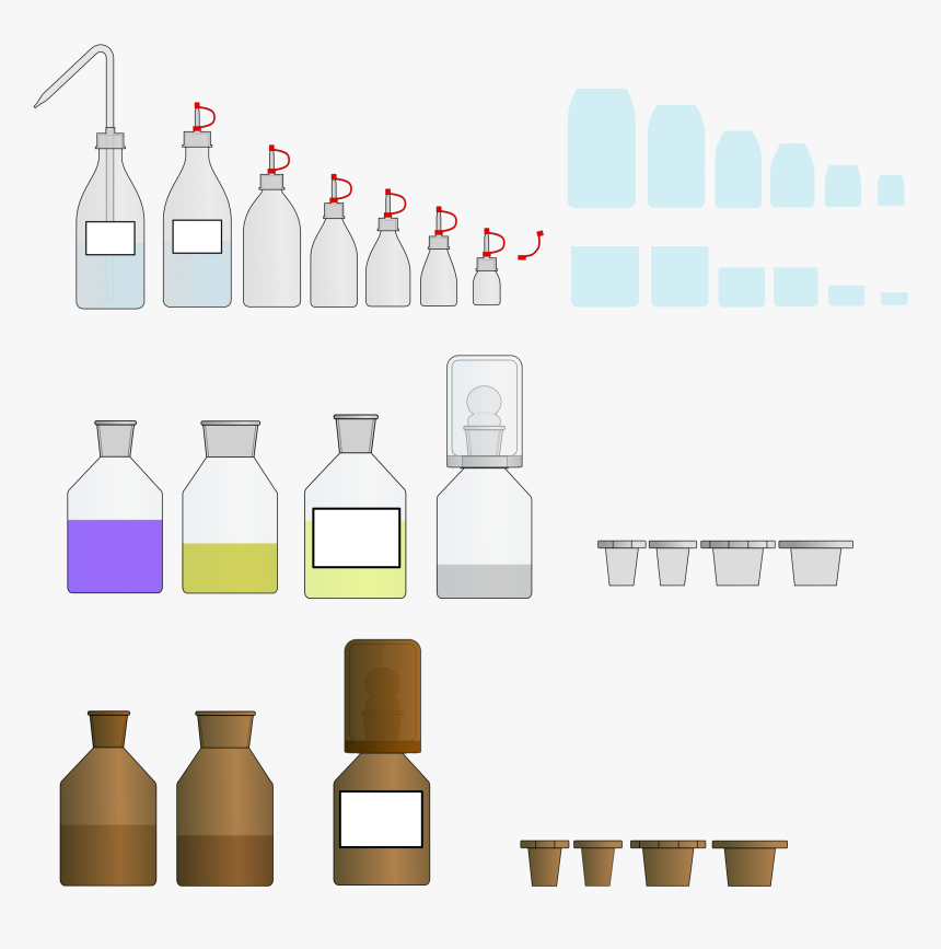 Chemistry Glass / Plastic Bottles And Lids - Glass Bottle, HD Png Download, Free Download