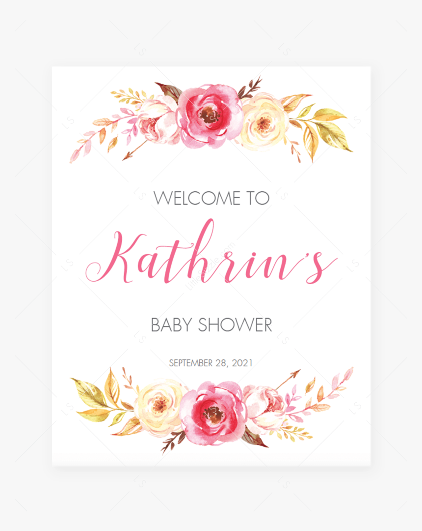 "Pink Floral Baby Shower Welcome Poster By Littlesizzle""  - Baby Shower Welcome Board Design, HD Png Download, Free Download"