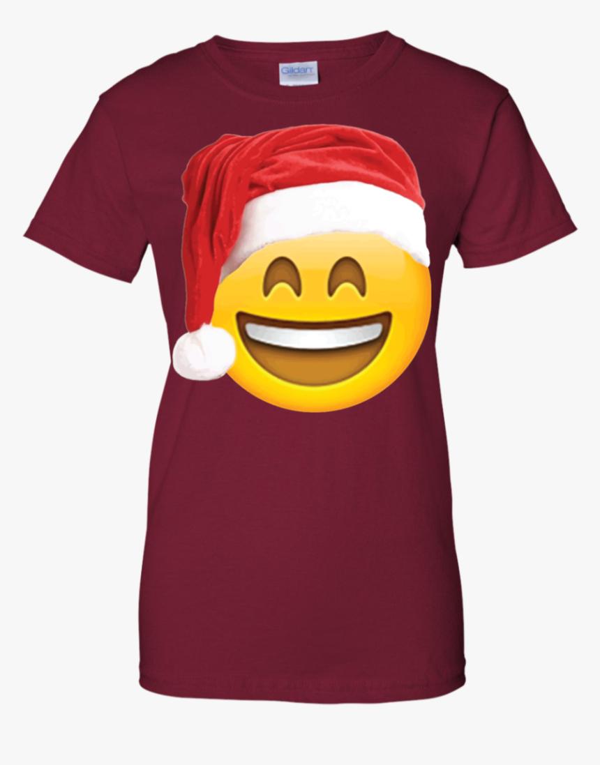 Emoji Christmas Shirt Smiley Face Santa Hat Family - T-shirt, HD Png Download, Free Download