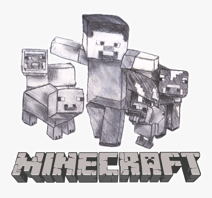 Minecraft Sketch - Cool Pencil Minecraft Drawings, HD Png Download, Free Download