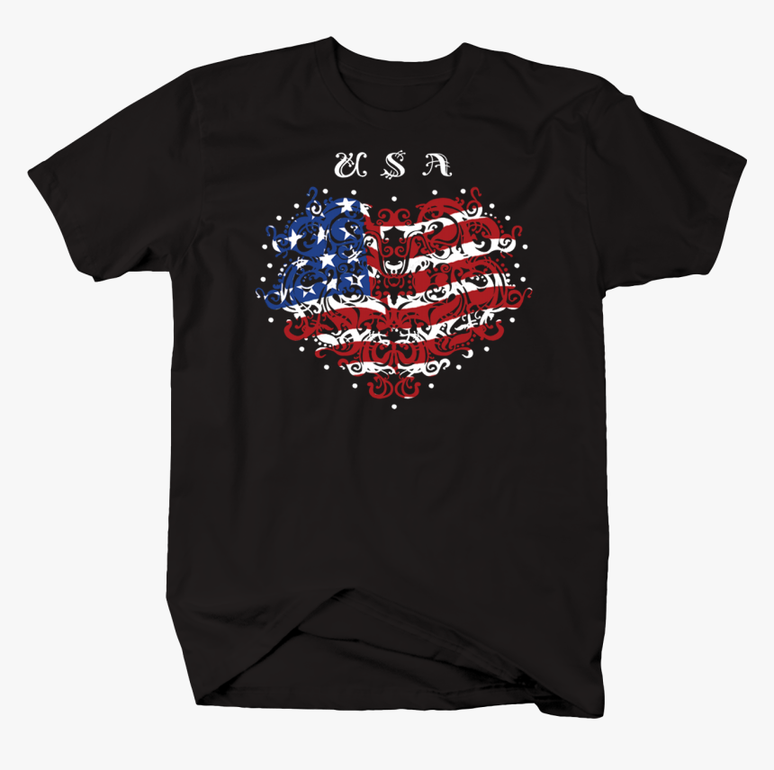 Usa Red White Blue American Flag Heart Stars - T-shirt, HD Png Download, Free Download