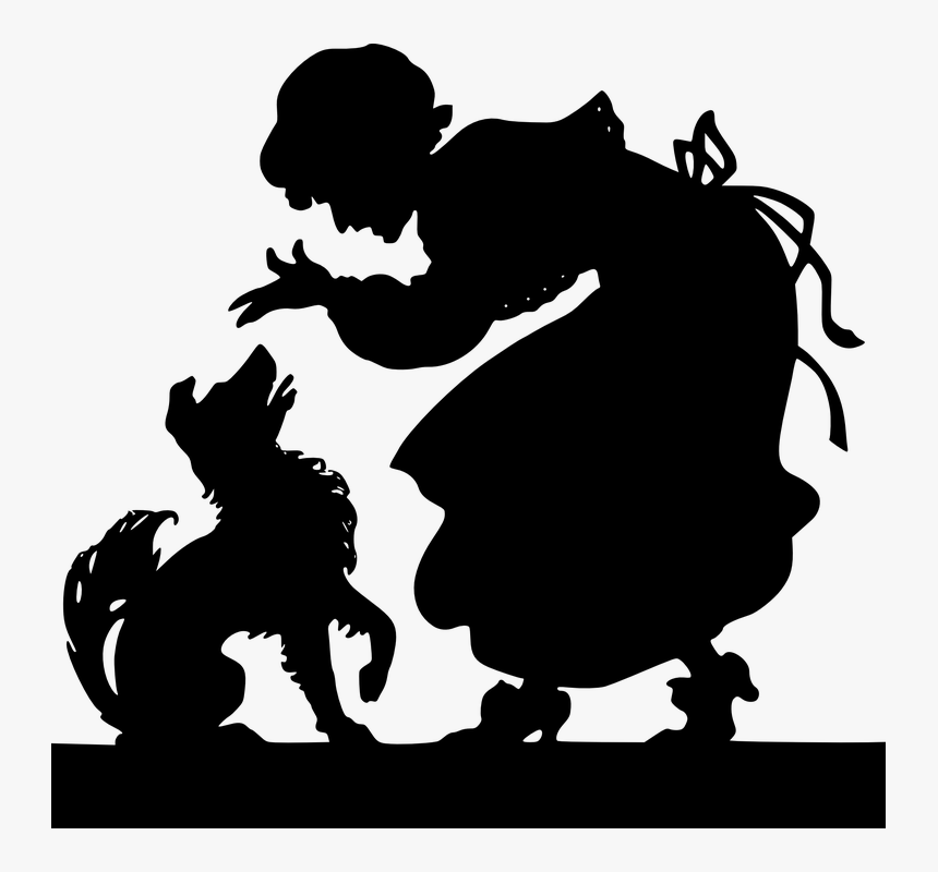 Old, Lady, Silhouette, Human, Dog, Hat, Pet, Animal - Human And Dog Silhouette Png, Transparent Png, Free Download