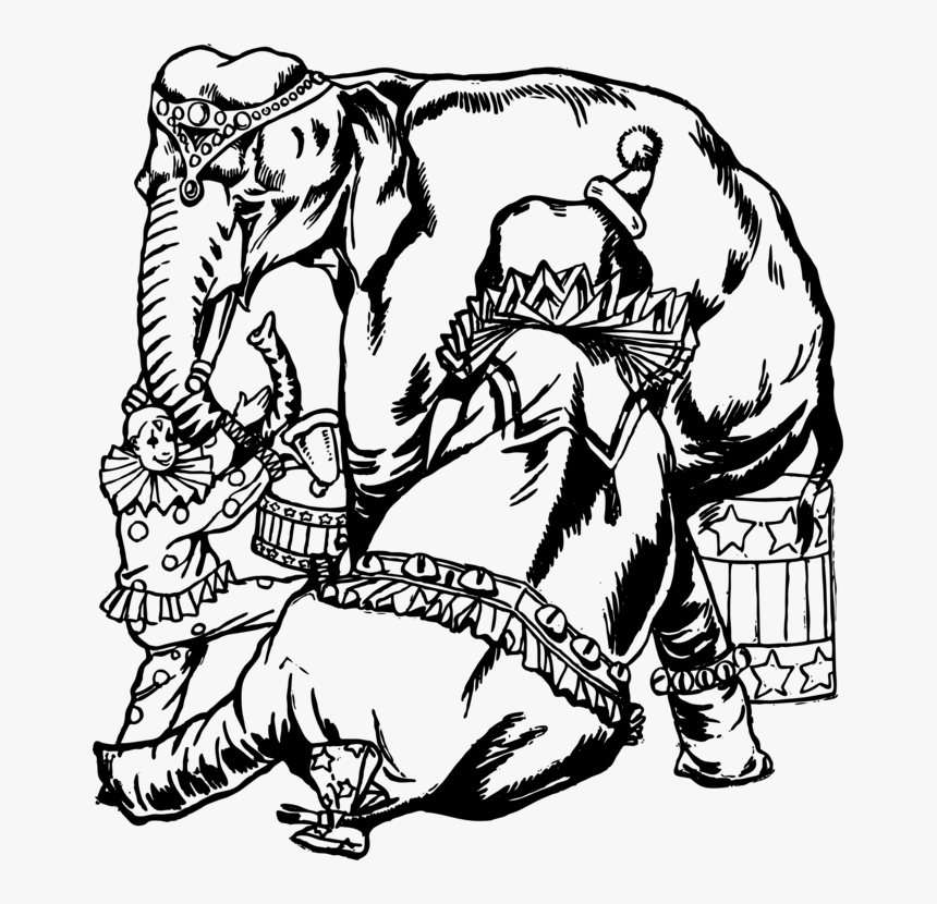 Circus Elephant Black And White Clipart, HD Png Download, Free Download