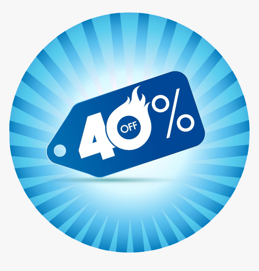 Pic3 - 40% Off Sign Blue, HD Png Download, Free Download