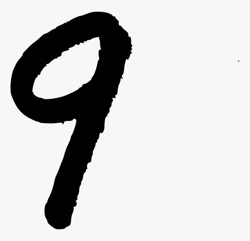 Silhouette,neck,hand - Hand Written Number 9, HD Png Download, Free Download