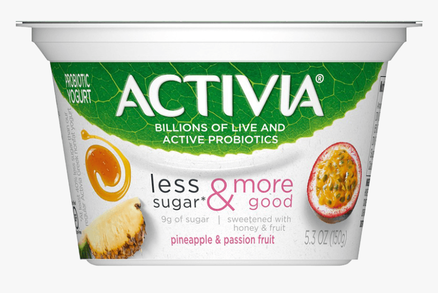 Activia® Pineapple & Passionfruit Probiotic Yogurt - Activia Less Sugar Yogurt, HD Png Download, Free Download