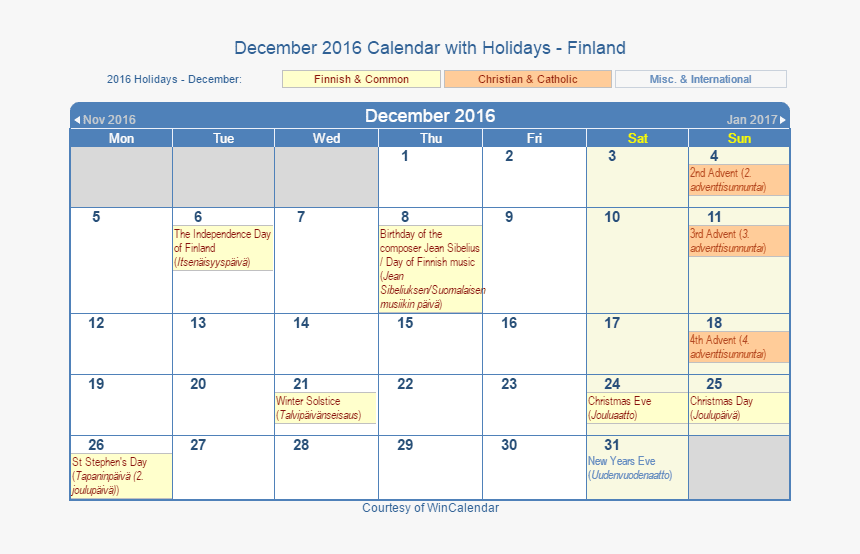 September 2021 Calendar With Jewish Holidays December 2016 Calendar With Fin Holidays   2021 Calendar With