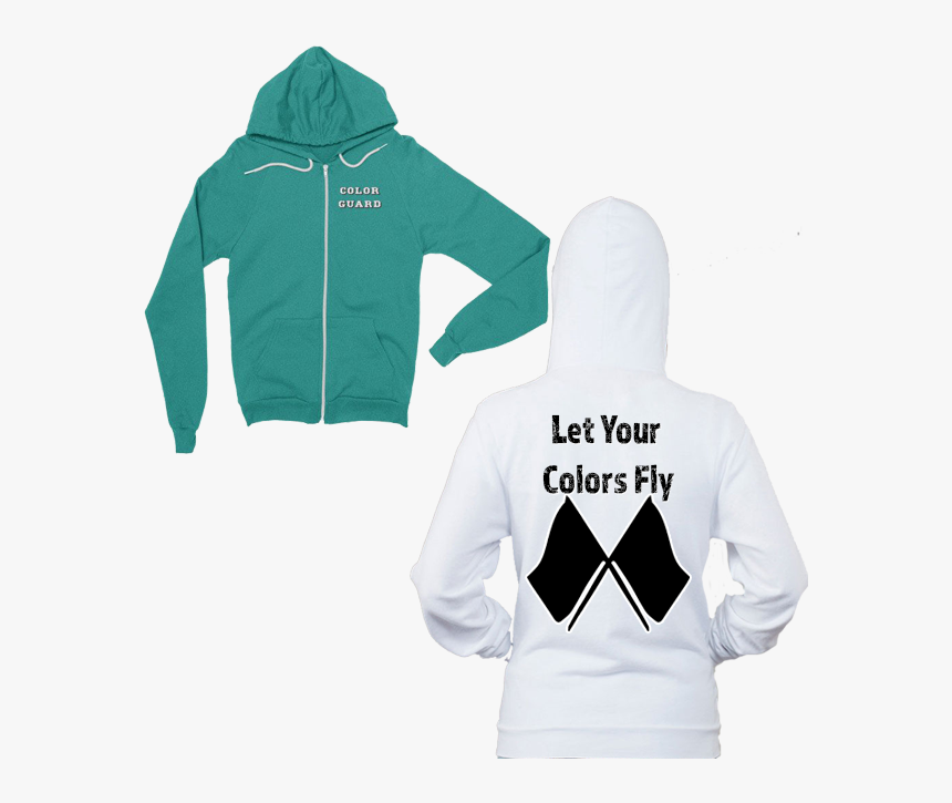 Let Your Colors Fly Color Guard Zip Up Hoodie Features - Chicago Flag Zip Up Hoodie, HD Png Download, Free Download