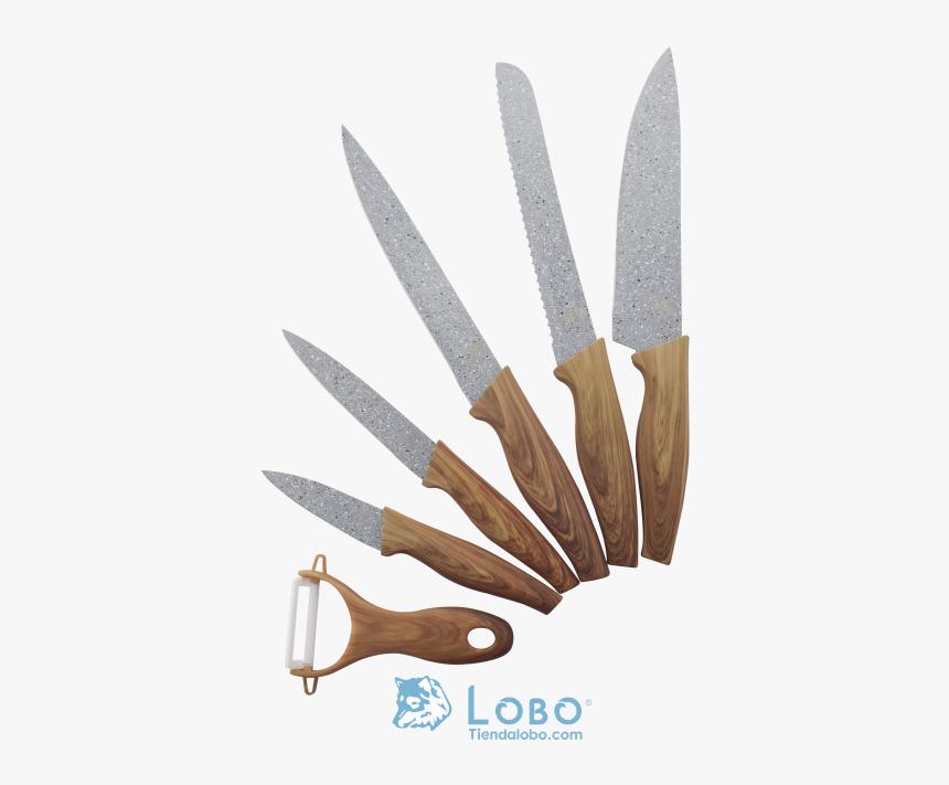 Juego De Cuchillos Y Pelador Ceramica Con Mango De - Lobo Marca De Cuchillos, HD Png Download, Free Download