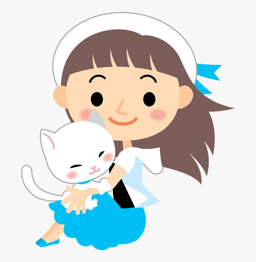 Girl Cat Clipart - Girl And Cat Clipart, HD Png Download, Free Download