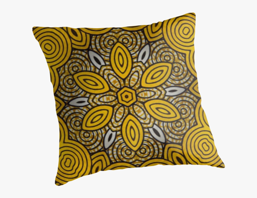 African Print Starburst-yellow - Cushion, HD Png Download, Free Download