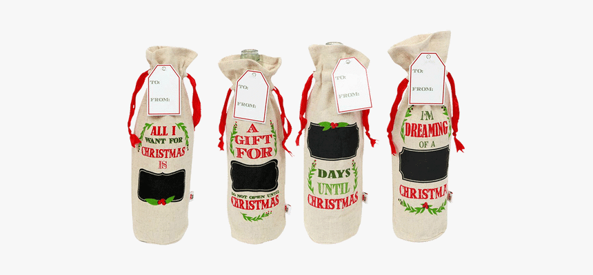 Wine Tote W/ Chalk - Drawstring Wine Bag Christmas, HD Png Download, Free Download