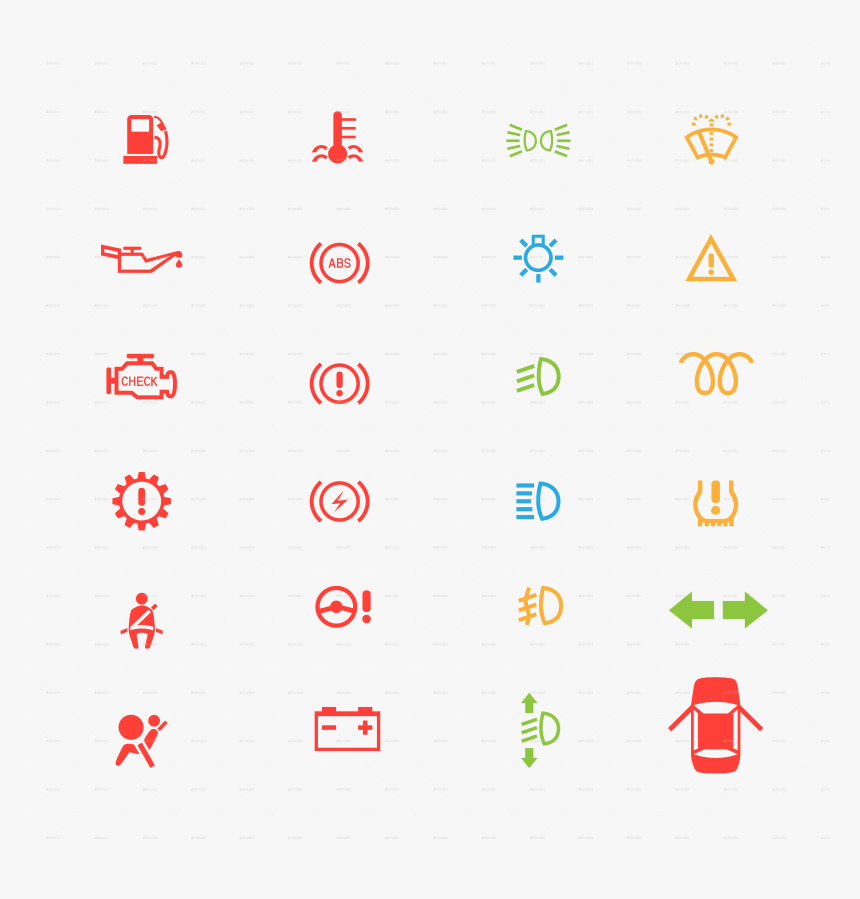Control Panel Icon - Car Dashboard Symbols Png, Transparent Png, Free Download