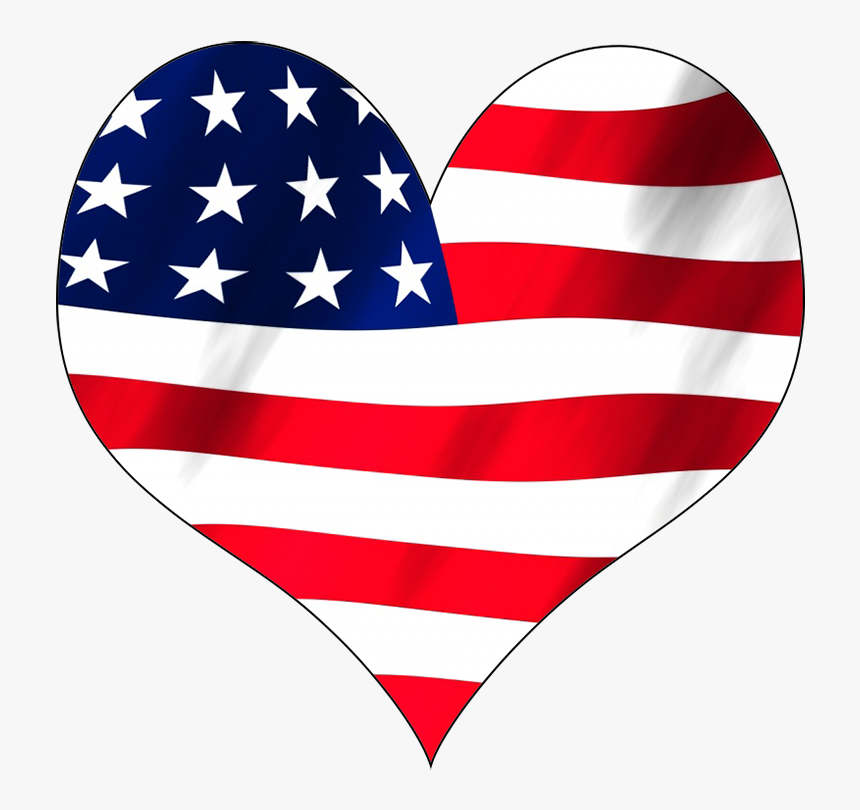 Usa Flag In A Heart - Stars And Stripes T Shirt Mens, HD Png Download, Free Download