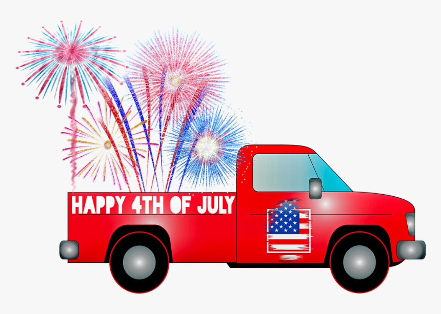 Pick Up Truck, 4th Of July Cart, Independence Day, - 4th Of July Red Pick Up Truck, HD Png Download, Free Download
