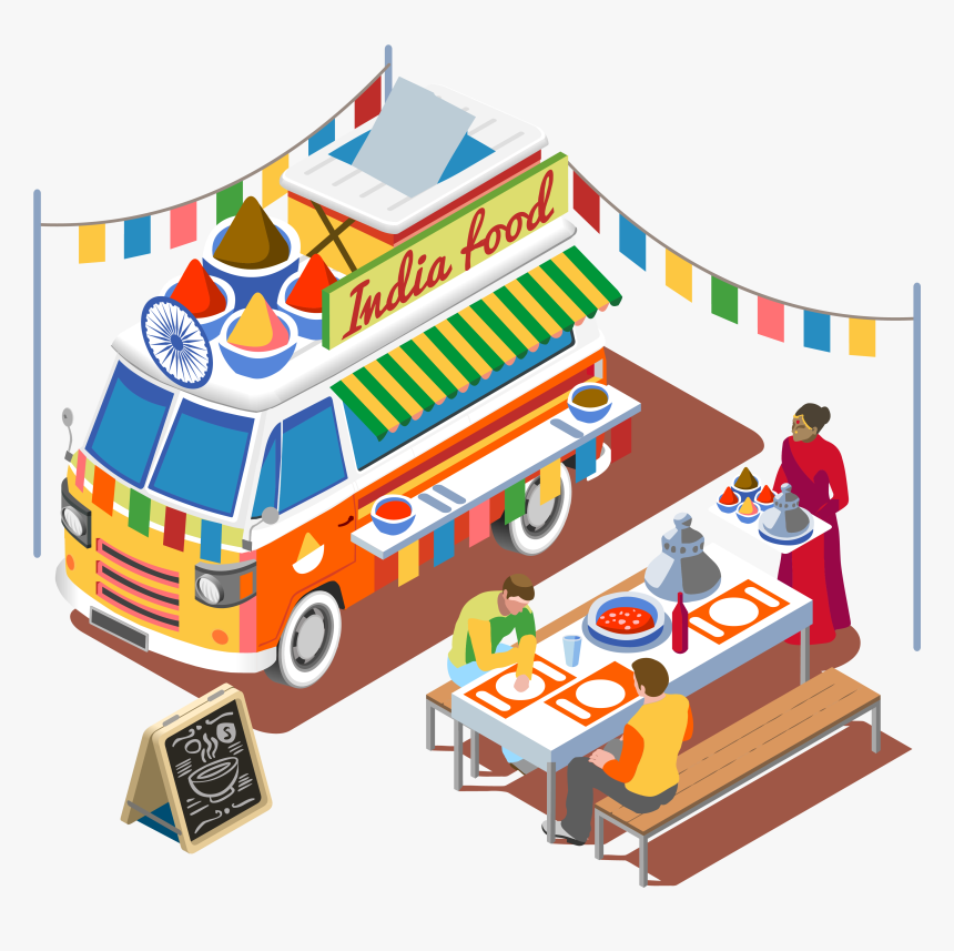 Street Food Fast Food Barbecue Grill Food Truck - Indian Food Truck Clip Art, HD Png Download, Free Download