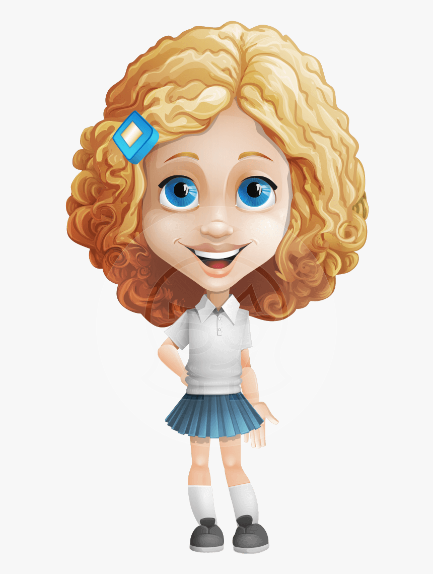 Little Blonde Girl With Curly Hair Cartoon Vector Character Cartoon Girl With Curly Hair Hd Png Download Kindpng