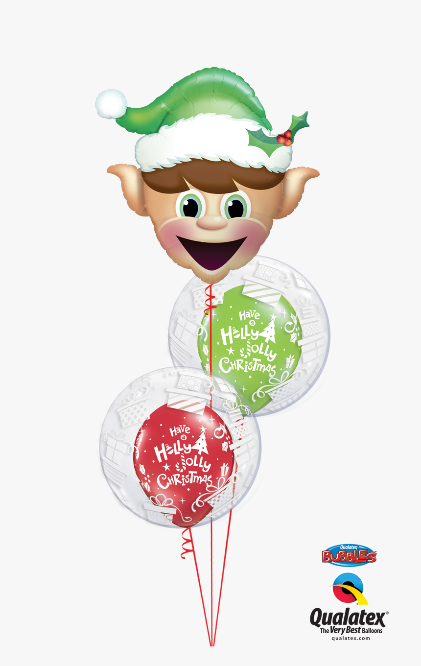 Cheeky Elf Double Bubble Balloon Bouquet - Christmas Balloons Elf Head, HD Png Download, Free Download