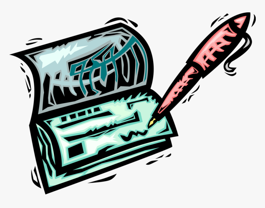 Vector Illustration Of Pen Writing Check Or Cheque Checking Account Clipart Hd Png Download Kindpng