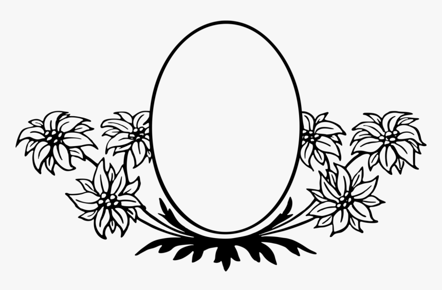 Symmetry,monochrome Photography,oval - Flower Border Design Clipart Black And White, HD Png Download, Free Download