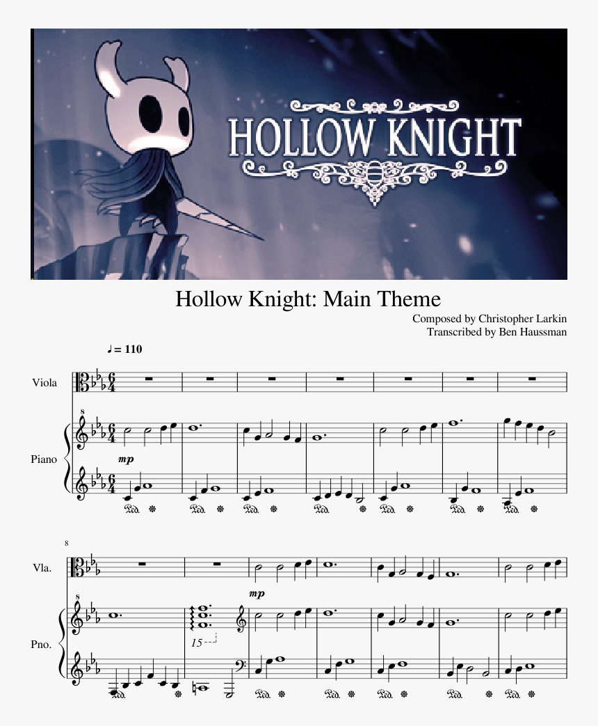 Hollow Knight Theme Piano Sheet Music, HD Png Download, Free Download