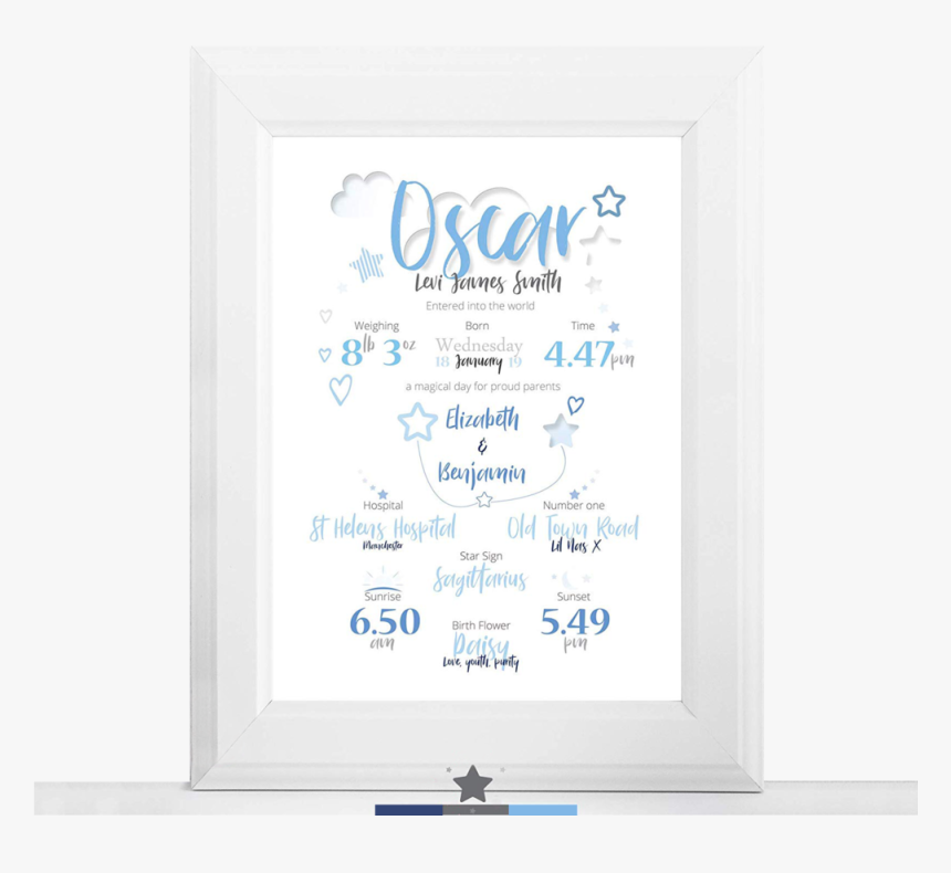 Birth Detail Print Blue Cloud Thumb - Picture Frame, HD Png Download, Free Download