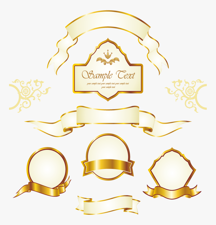Gold Vintage Frame Royalty-free Euclidean Vector Label - Invitation Borders Wedding Invitation Png Frames, Transparent Png, Free Download