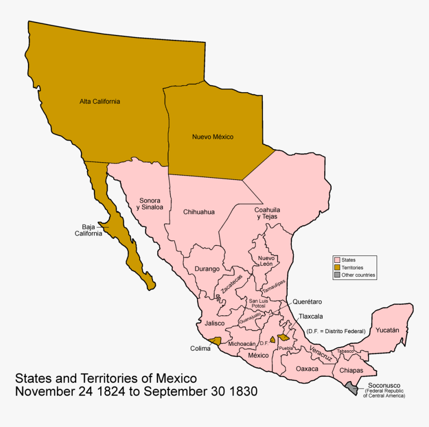 Map Of Mexico 1848, HD Png Download, Free Download