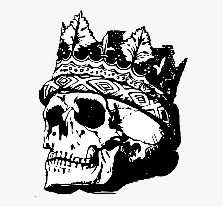 Skull With Crown, Skull, Crown, Death, Vintage, Retro - Skull With Crown Transparent, HD Png Download, Free Download