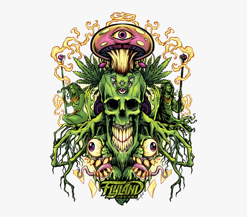 Skull With Mushrooms, HD Png Download, Free Download