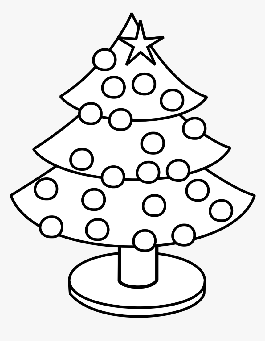 Simple Christmas Tree Clipart Black And White, HD Png Download, Free Download