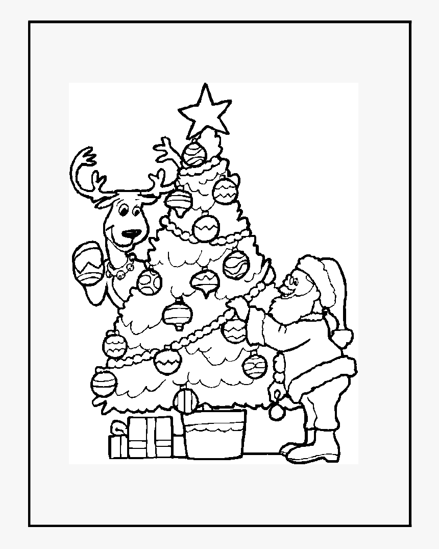 Christmas Tree With Santa Coloring Page, HD Png Download, Free Download