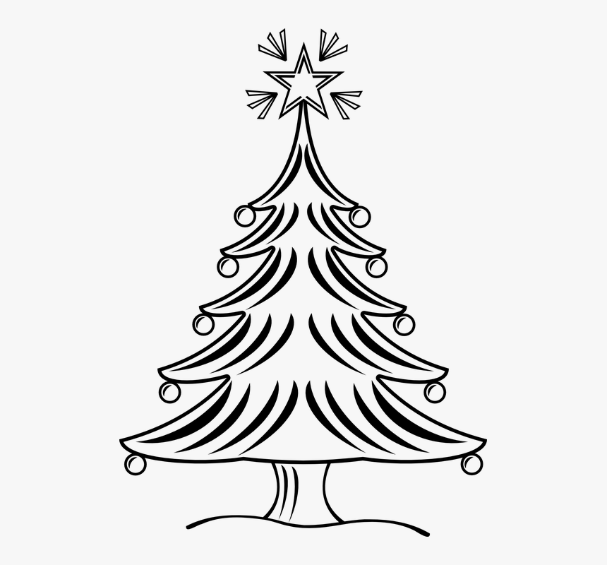 Xmas Tree Black And White, HD Png Download, Free Download