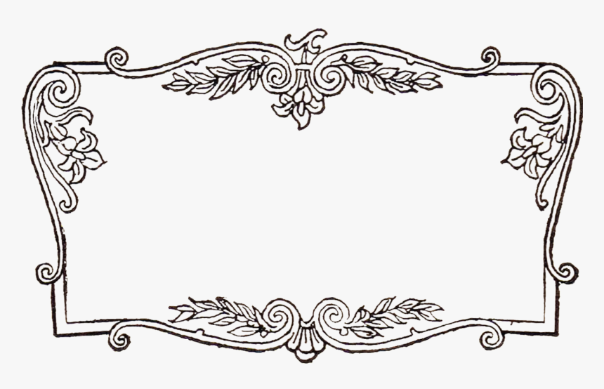 French Advertisement In Fancy Scrolled Frame Clip Art - Transparent Fancy Borders Png, Png Download, Free Download