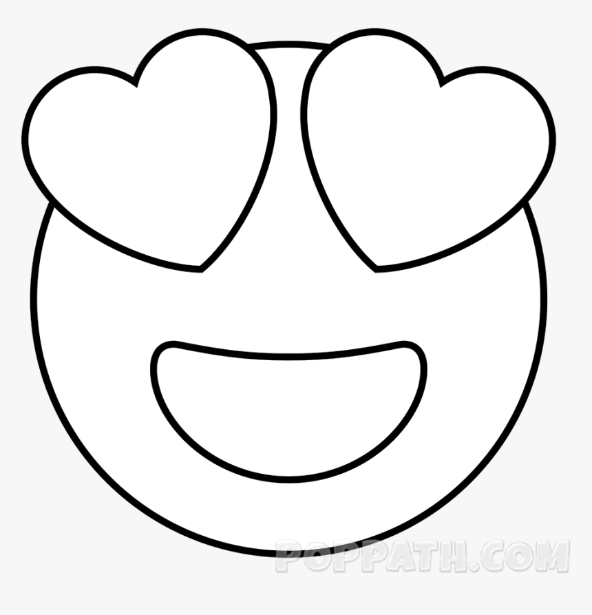 How To Draw A Heart Eyes Emoji Pop Path - Heart Eyes Emoji Drawing, HD Png Download, Free Download