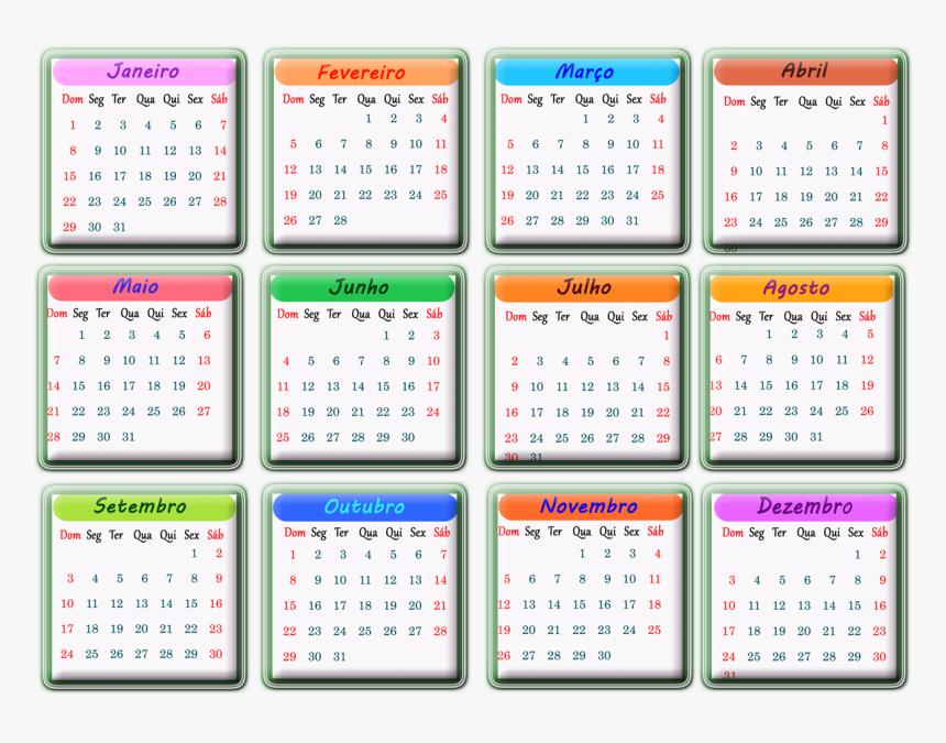 Calendario 2017 Colorido Em Português, HD Png Download   kindpng