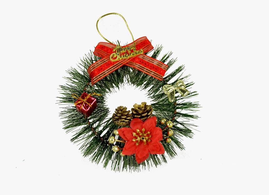 Clip Art Enfeites De Natal Com Pinhas - Wreath, HD Png Download, Free Download