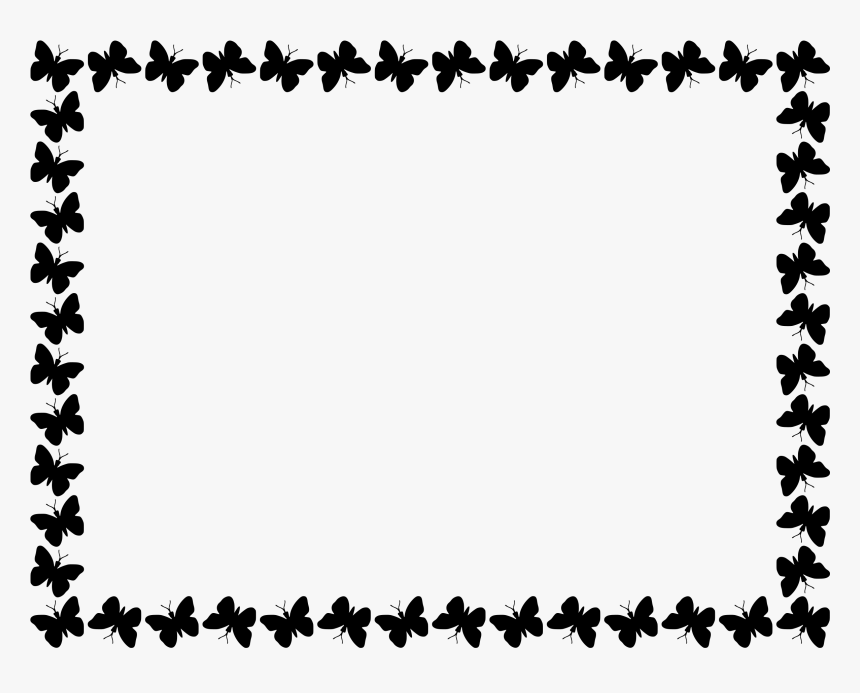 Butterfly Border Design Black Clipart , Png Download - Borders Black And White, Transparent Png, Free Download