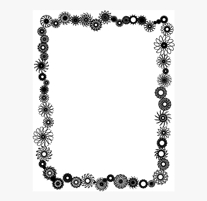 Black And White Flower Border Clipart Clipart Library - Flower Border Clipart Black And White, HD Png Download, Free Download