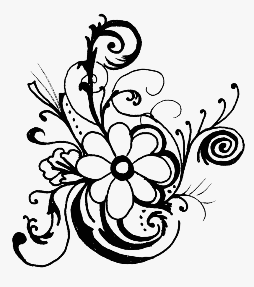 Black And White Flower Border Clipart - Floral Border Designs Clip Art Black N White, HD Png Download, Free Download