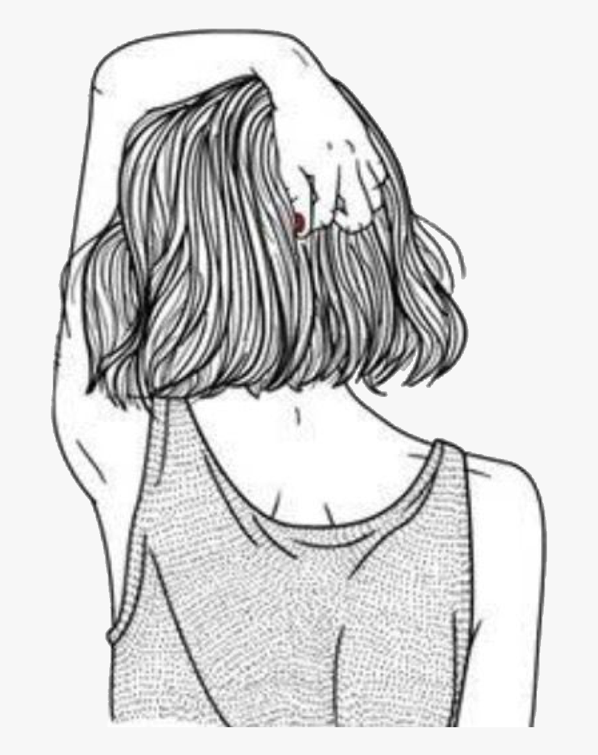 Png Tumblr Sticker Blcknwhite Blackandwhite Girl Chica - Girl With Short Hair Drawing, Transparent Png, Free Download
