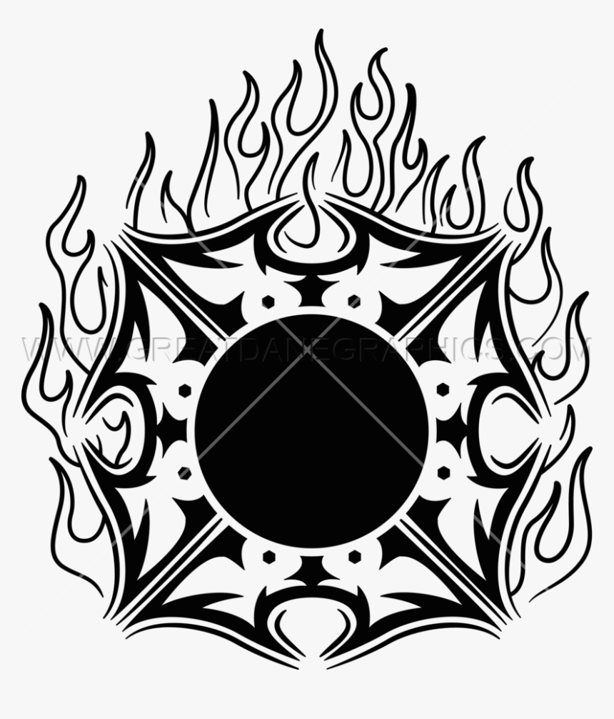 Fire Production Ready Artwork - Maltese Cross With Fire, HD Png Download, Free Download