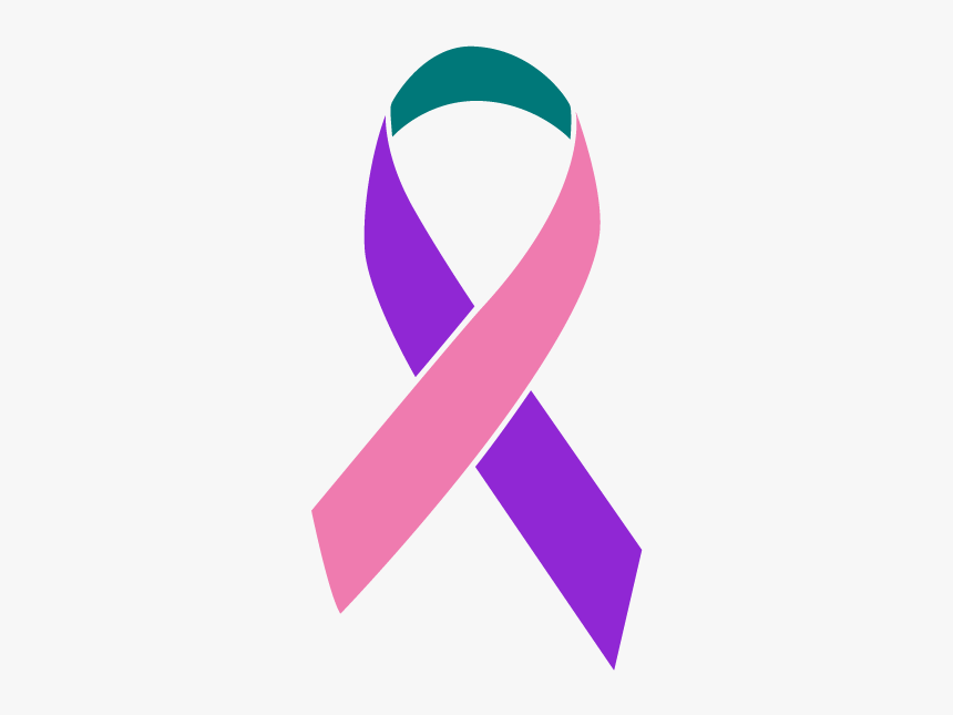 Purple Teal And Pink Colored Thyroid Cancer Ribbon Ovarian Cancer Ribbon Png Transparent Png Kindpng