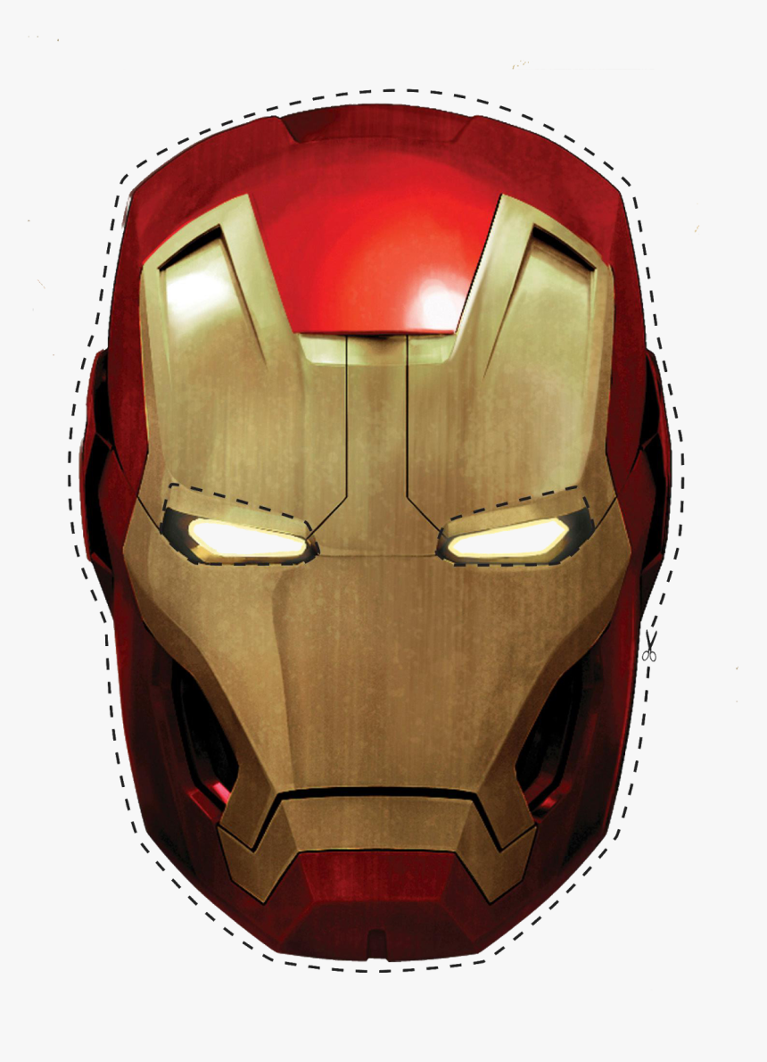 Free Printable Iron Man Mask - Iron Man Helmet Png, Transparent Png, Free Download