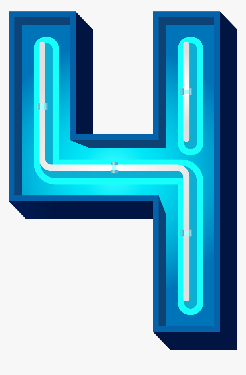 Number 4 Clipart Neon Green - Blue Neon S Png, Transparent Png, Free Download