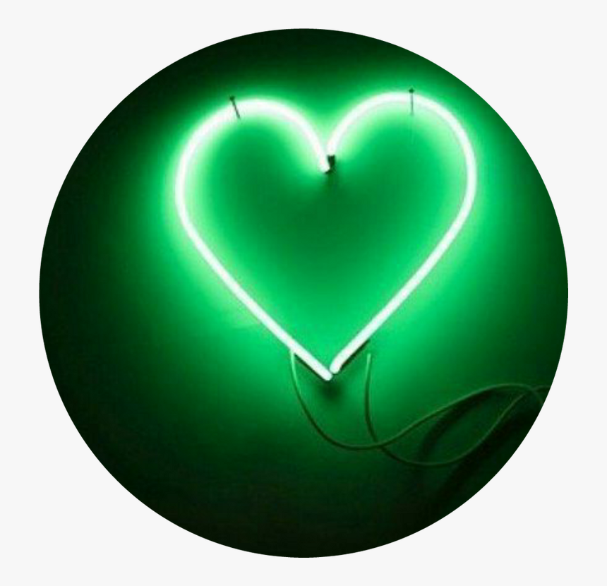 Heart, Light, And Neon Image - Light Green Aesthetic Png, Transparent Png, Free Download